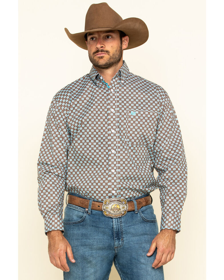Rough Stock By Panhandle Men's Hilldale Geo Print Long Sleeve Western Shirt , Brown, hi-res