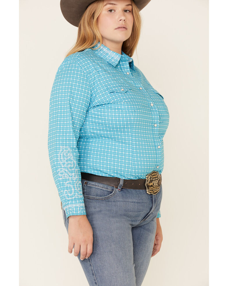 Rough Stock by Panhandle Women's Geo Print Snap Long Sleeve Western Shirt - Plus, Turquoise, hi-res