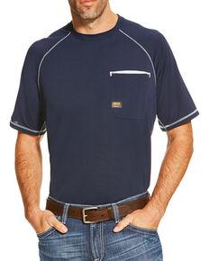 Ariat Men's Sun Stopper Crew Short Sleeve Shirt, Navy, hi-res