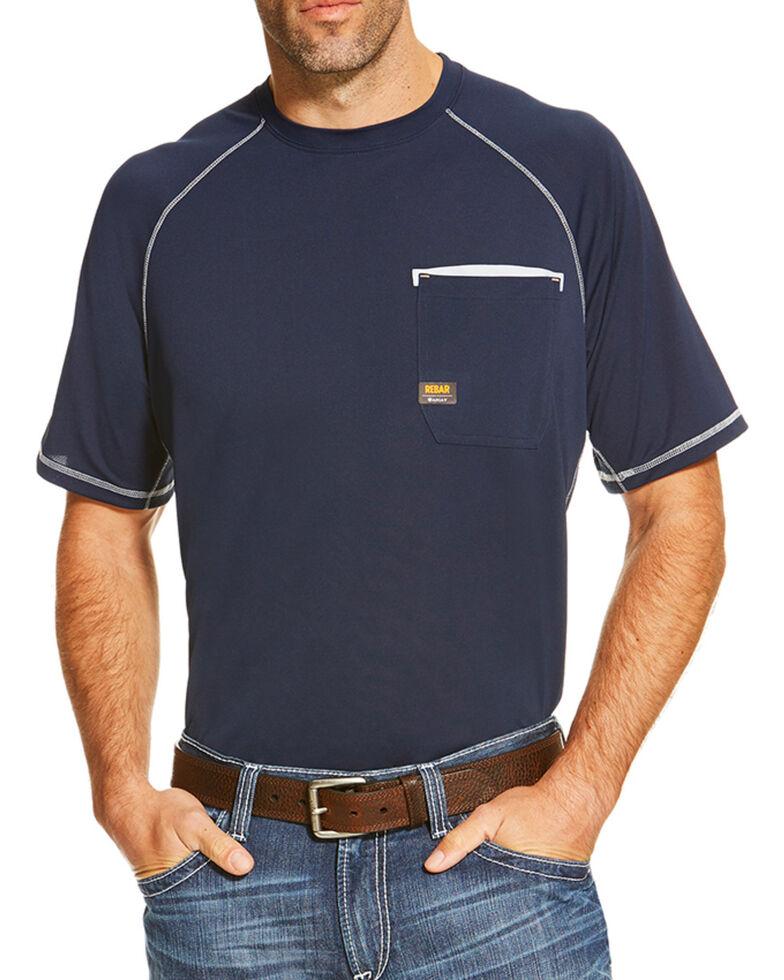 Ariat Men's Navy Rebar Sunstopper Pocket Short Sleeve Work T-Shirt , , hi-res