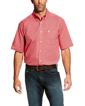 Ariat Men's Gatewood Stretch Geo Print Short Sleeve Western Shirt - Big & Tall , Red, hi-res