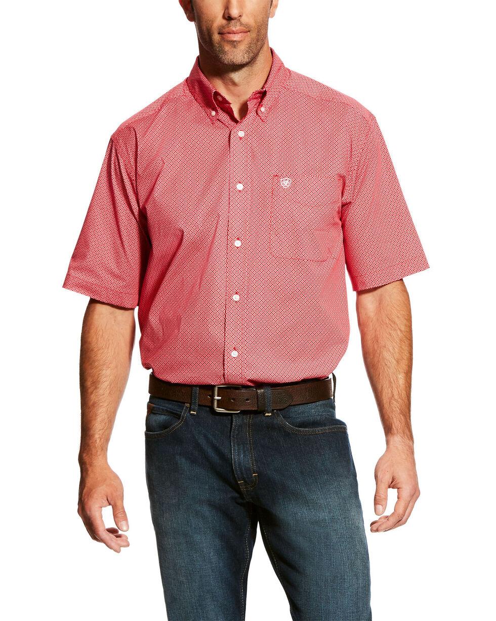 Ariat Men's Gatewood Stretch Geo Print Short Sleeve Western Shirt - Big & Tall , Red, hi-res