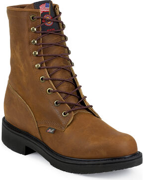 Justin Men's Lace-R Work Boots, Bark, hi-res