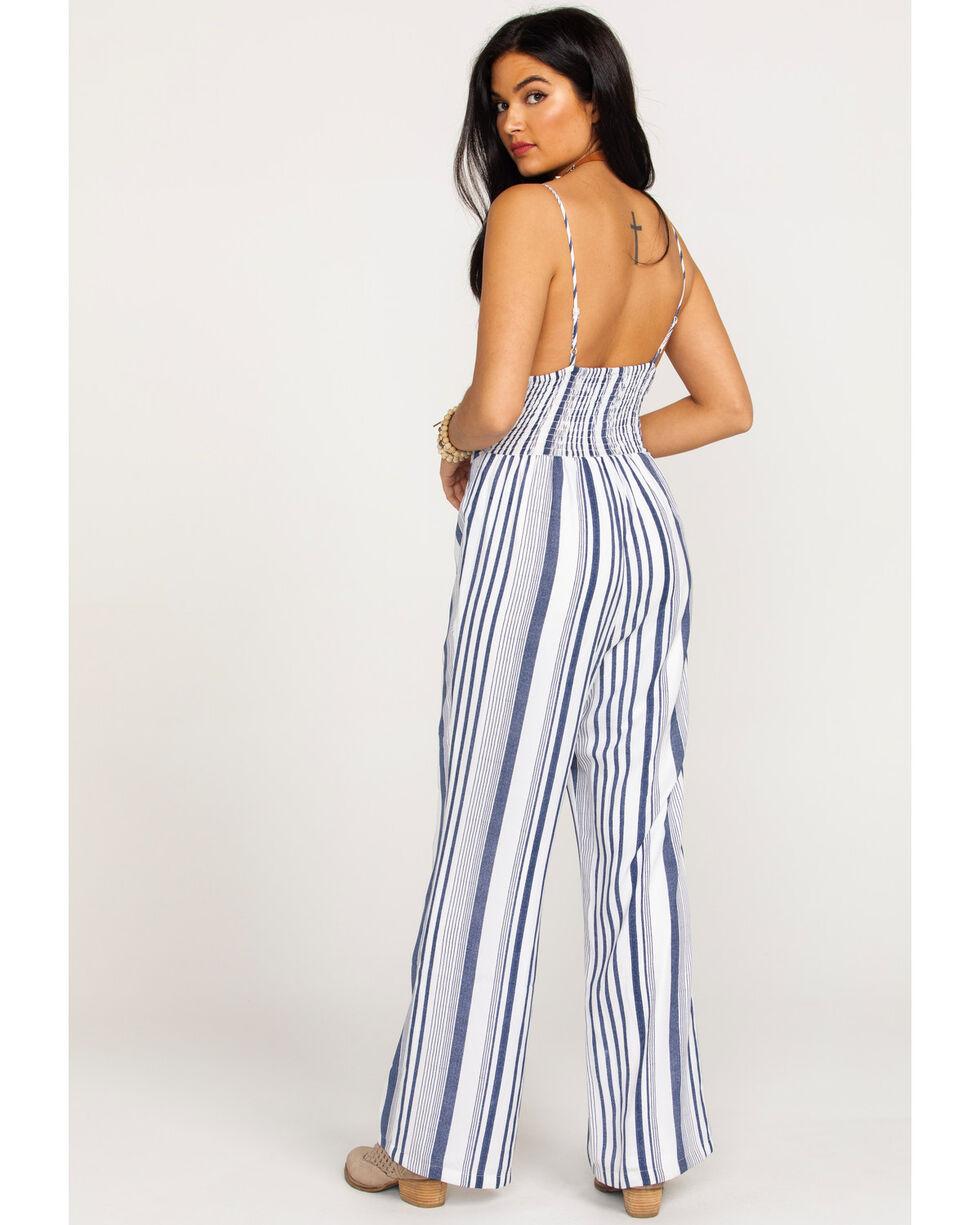 Wrangler Women's Striped Tie Front Jumpsuit, Navy, hi-res