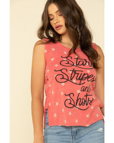 Shyanne Women's Red Stars Stripes & Shots Tank Top, Red, hi-res