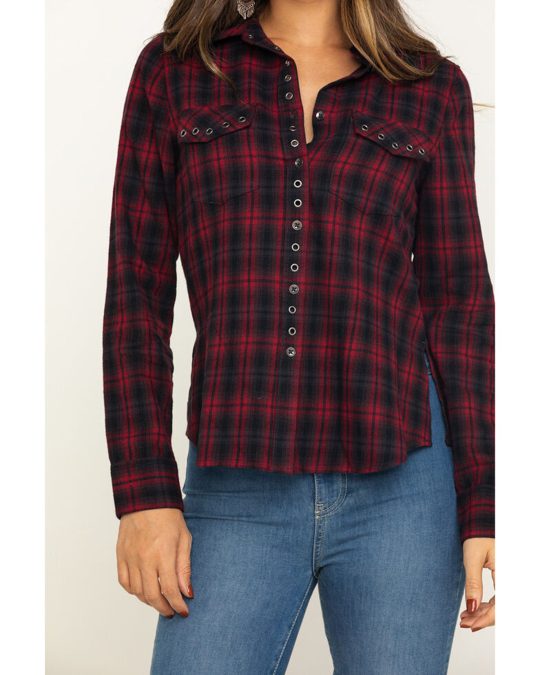 Shyanne Life Women's Black Flannel Shirt, Red, hi-res