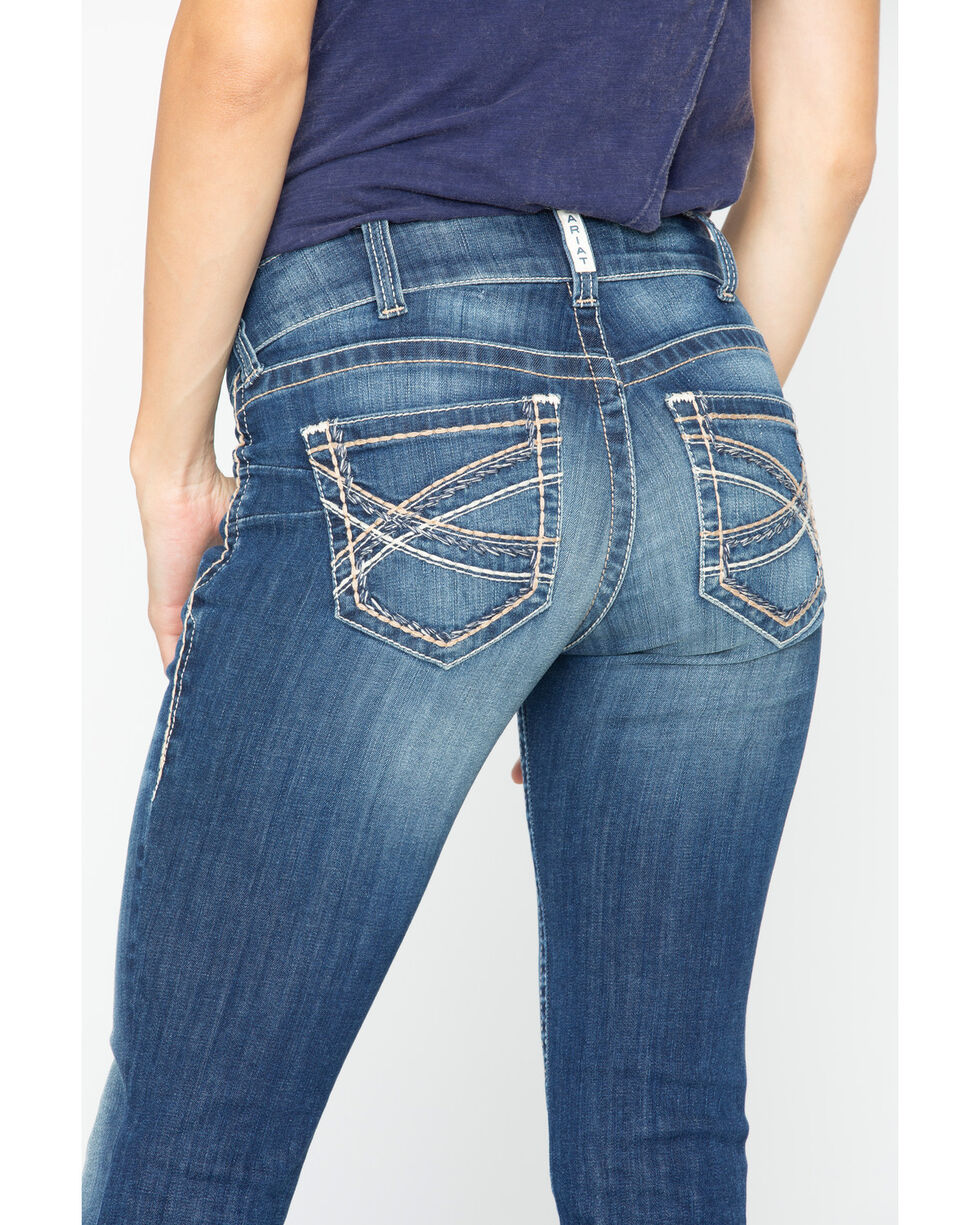 Ariat Women's R.E.A.L Mid Rise Entwined Boot Cut Jeans, , hi-res