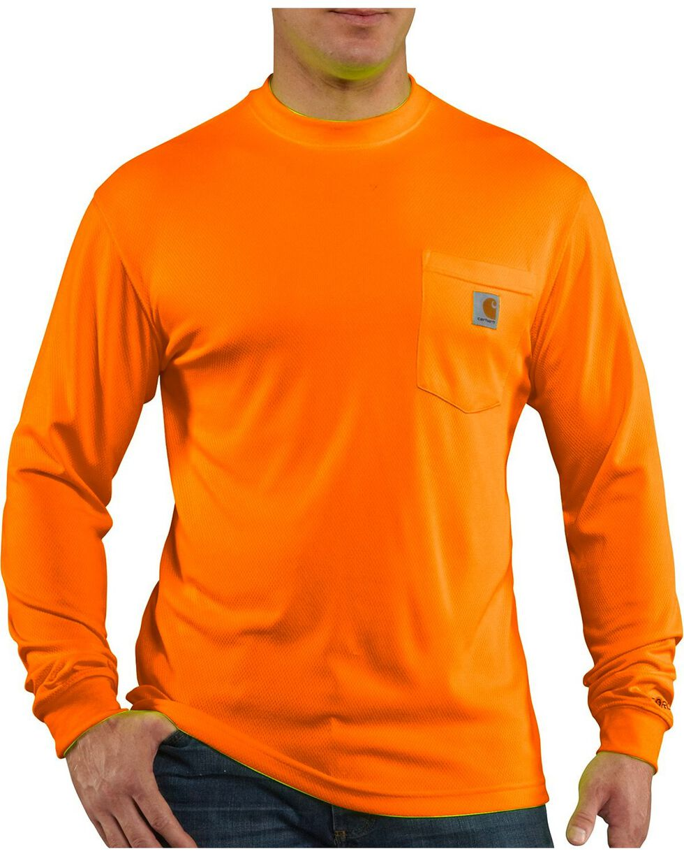 Carhartt Men's Long Sleeve Color Enhanced Force T-Shirt, Orange, hi-res