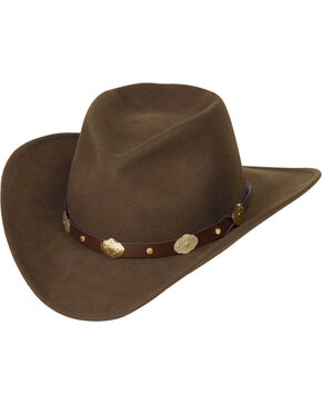 Western Express Men's Gold Concho Wool Felt Crushable Hat, Brown, hi-res