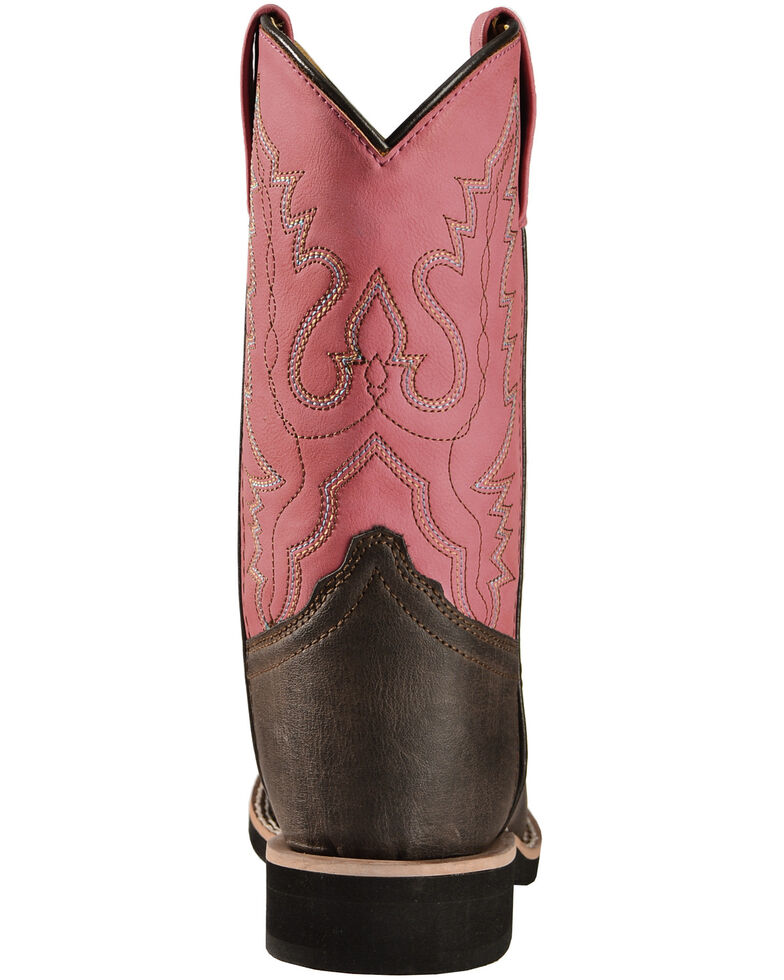 Swift Creek Girls' Chocolate and Raspberry Cowgirl Boots - Square Toe , Chocolate, hi-res