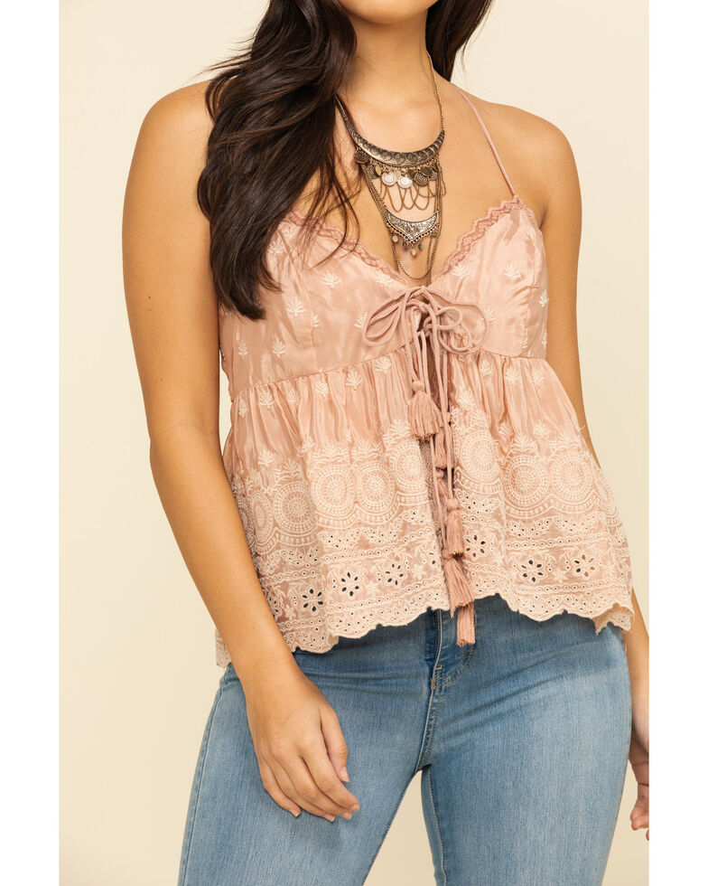 Free People Women's Jenna Embroidered Top, Pink, hi-res