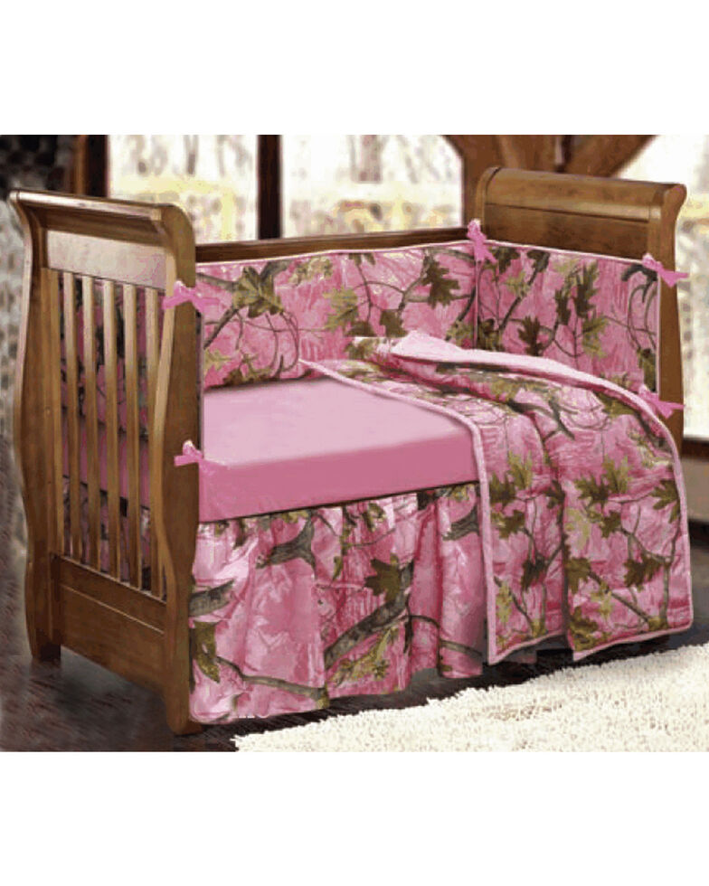 Hiend Accents 4 Piece Pink Camo Crib Set Hi Res