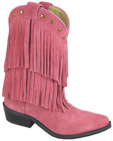 Smoky Mountain Kid's Wisteria Fringe Western Boots, Pink, hi-res