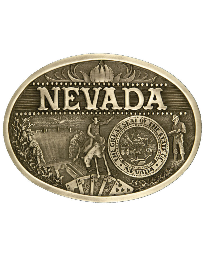 Montana Silversmiths Nevada State Belt Buckle, Gold, hi-res