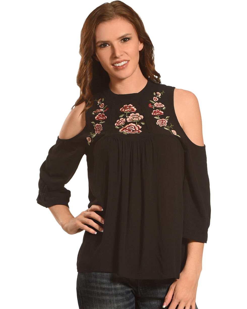 Eyeshadow Women's Floral High Neckline Cold Shoulder Long Sleeve Top, Black, hi-res