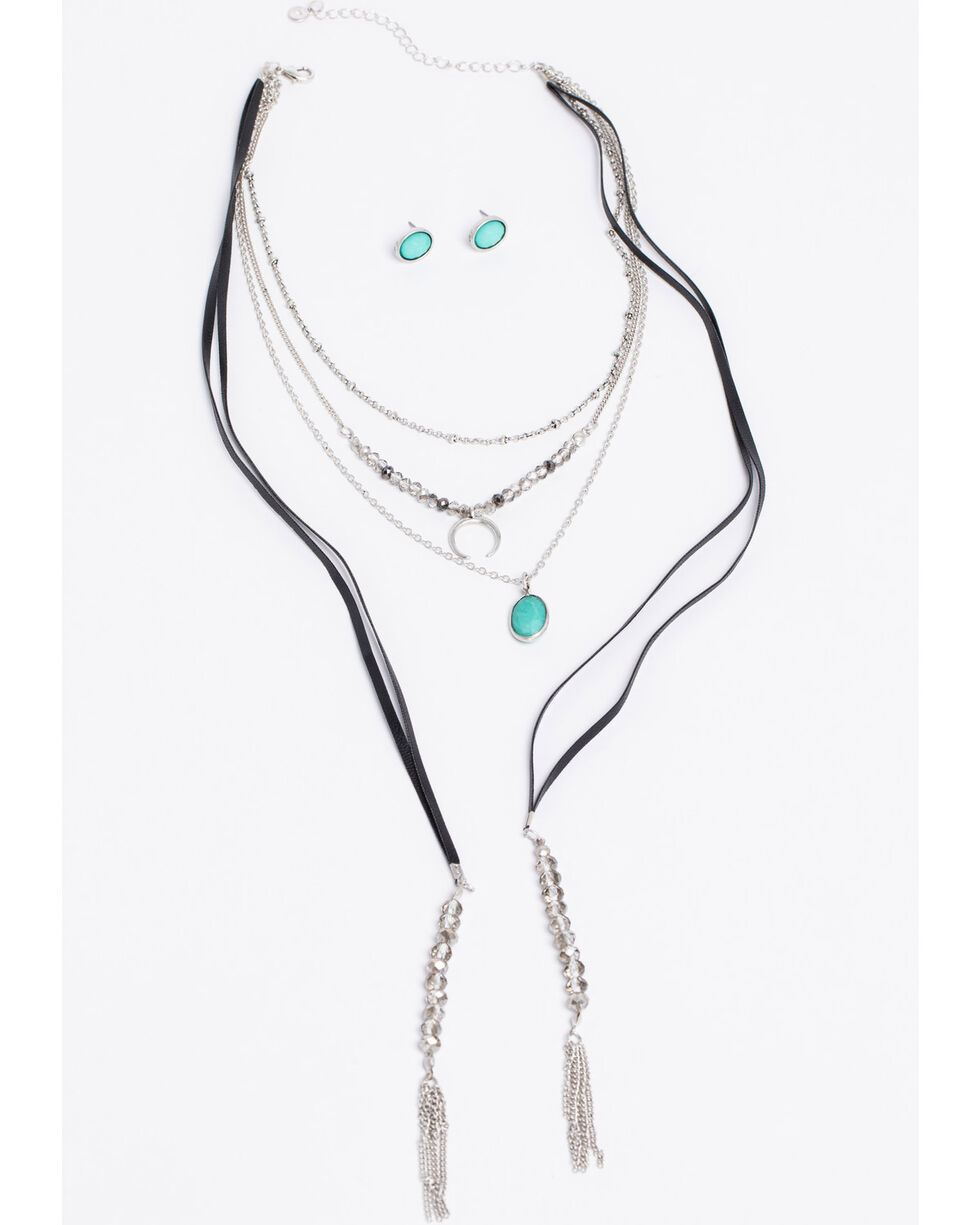 Shyanne Women's Bella 3 Row Layered Charm Necklace Set, Silver, hi-res