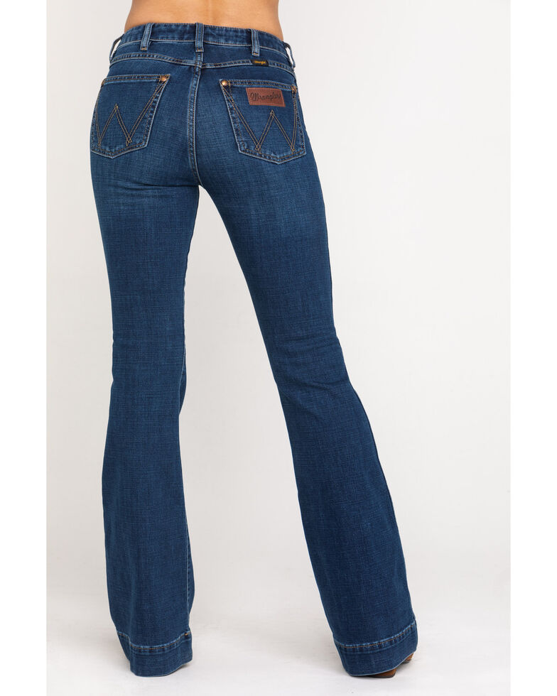 Wrangler Retro Women's Dark High Rise Clarita Trousers , Blue, hi-res