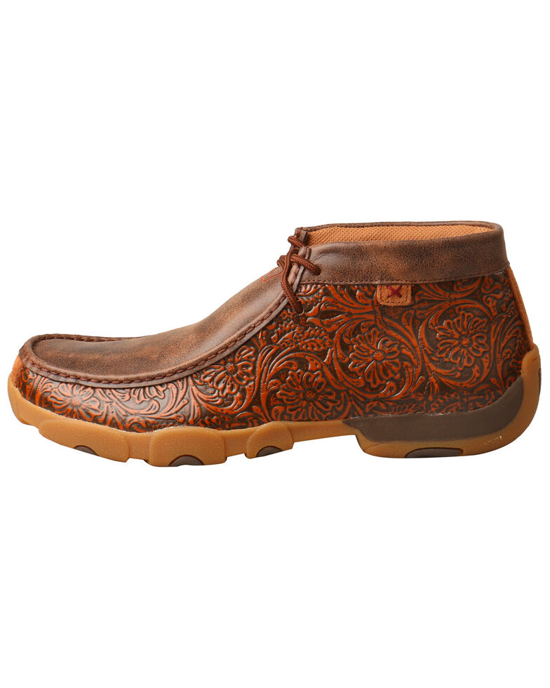 Twisted X Men's Tooled Driving Moccasins - Moc Toe, Brown, hi-res