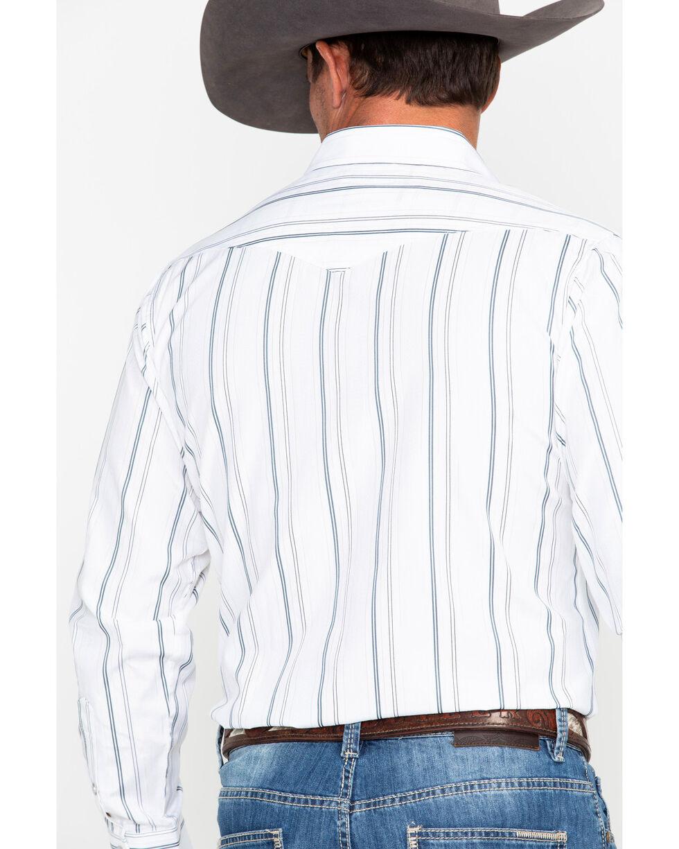 Panhandle Men's White Stripe Long Sleeve Western Shirt, White, hi-res