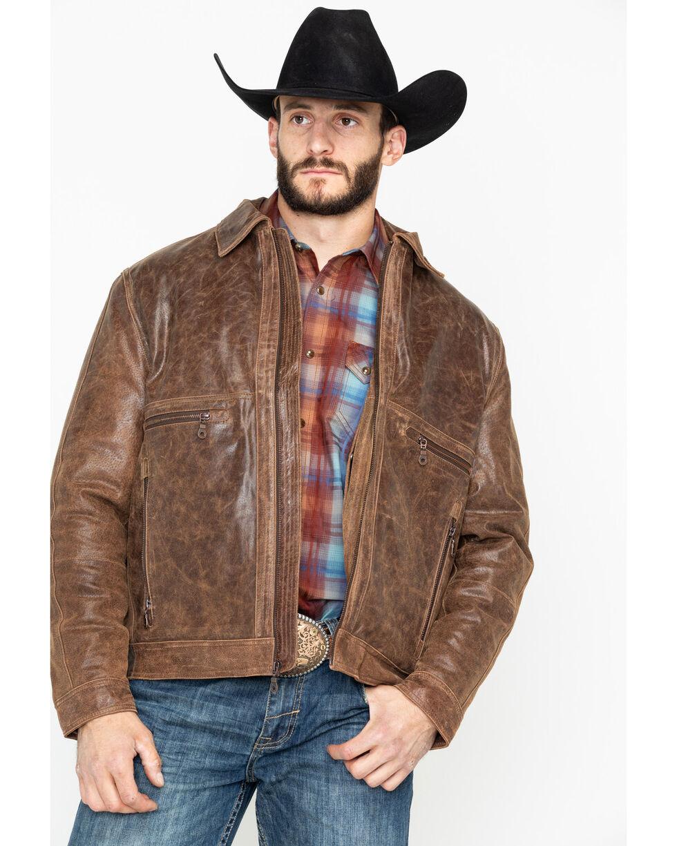 Cripple Creek Men's Distressed Open Bottom Zip Front Leather Jacket , Brown, hi-res