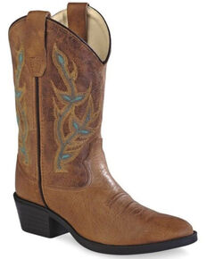 f409979d8f5e6 Old Gringo Girls Floral Embroidery Western Boots - Round Toe, Brown, hi-res
