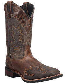 Laredo Men's Brown Overlay Western Boots - Wide Square Toe, Brown, hi-res