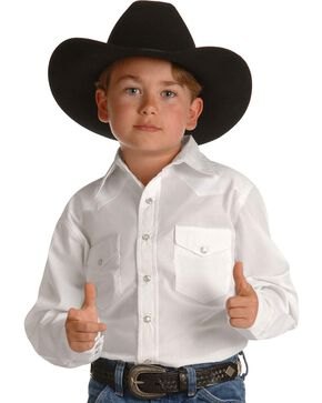 Wrangler Boy's Dress Western Solid Snap Shirt, White, hi-res