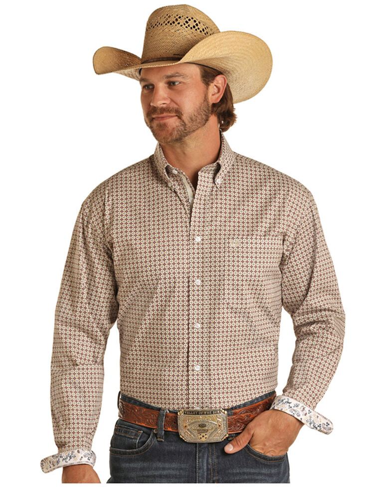 Rough Stock By Panhandle Men's Khaki Stretch Small Geo Print Long Sleeve Button-Down Western Shirt , Beige/khaki, hi-res