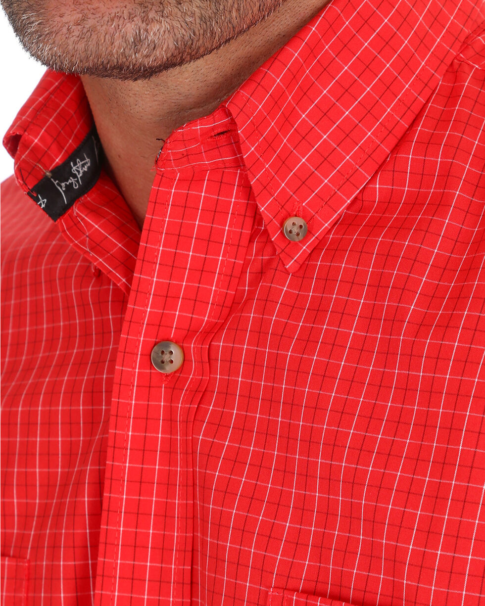 George Strait by Wrangler Men's Red Window Pane Short Sleeve Shirt , Red, hi-res
