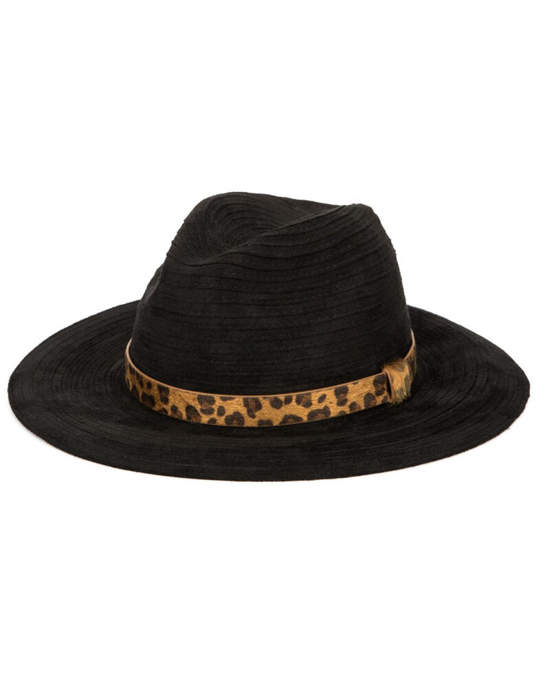 San Diego Hat Company Women's Faux Suede Leopard Band Fedora Hat , Black, hi-res