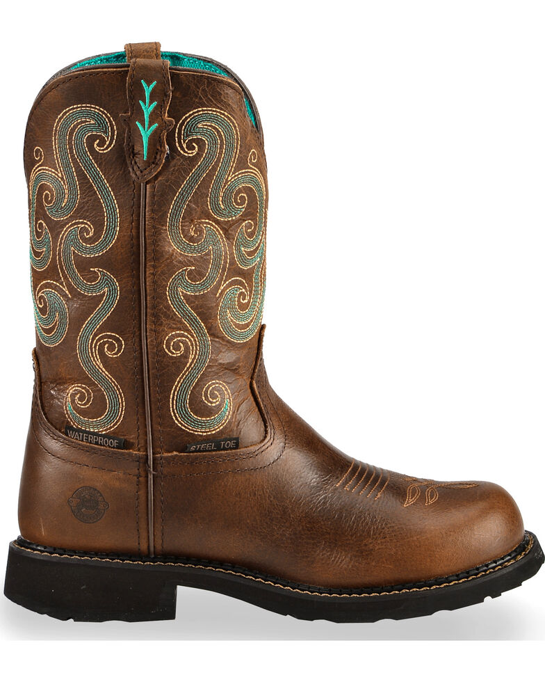Justin Women's Gypsy Steel Toe Work Boots, Chocolate, hi-res