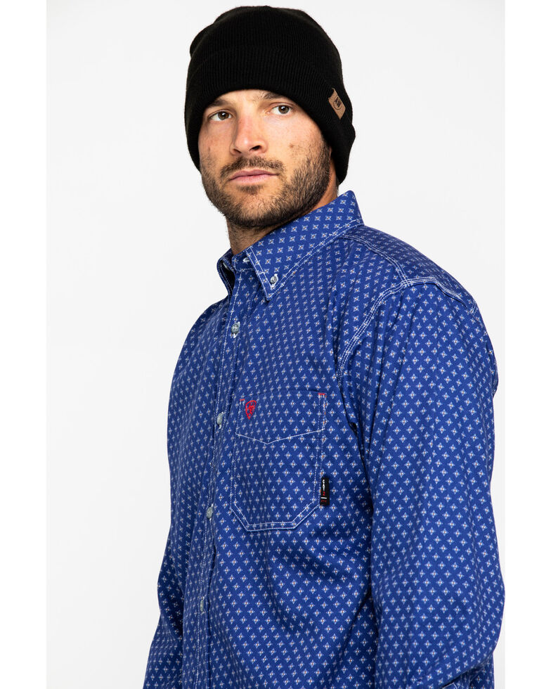 Ariat Men's FR Denali Geo Print Long Sleeve Work Shirt , Navy, hi-res