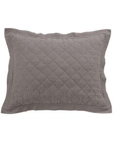 HiEnd Accents Diamond Pattern Quilted Grey Linen Standard Sham, Grey, hi-res