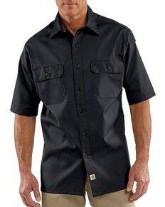 Carhartt Twill Work Short Sleeve Work Shirt, Black, hi-res