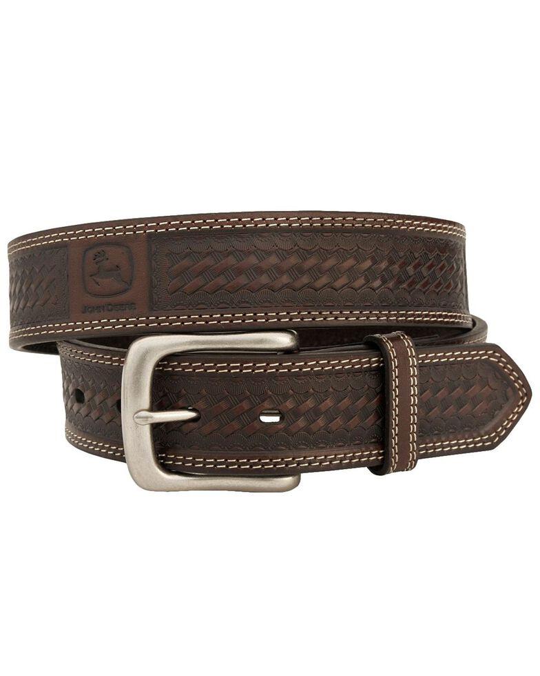 John Deere Basketweave Leather Belt, Chocolate, hi-res