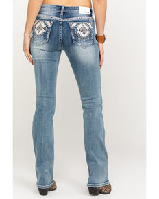 Grace in LA Women's Light Wash Aztec Bootcut Jeans, Blue, hi-res