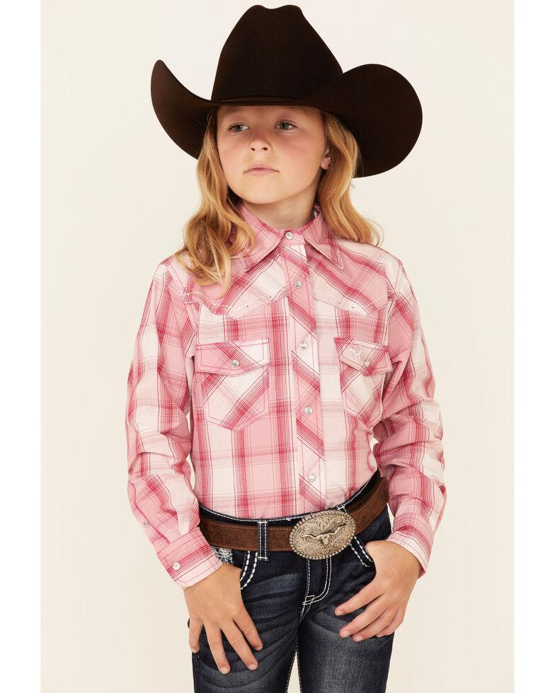 Cowgirl Hardware Girls' Pink Rhinestone Plaid Long Sleeve Snap Western Shirt , Pink, hi-res