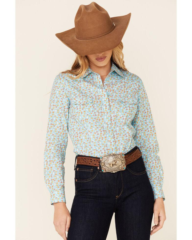 Panhandle Women's Teal Floral Print Long Sleeve Snap Western Core Shirt , Teal, hi-res