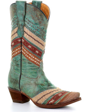 Corral Girls' Turquoise/Brown Chevron Embroidered Cowgirl Boots - Snip Toe, Chocolate/turquoise, hi-res