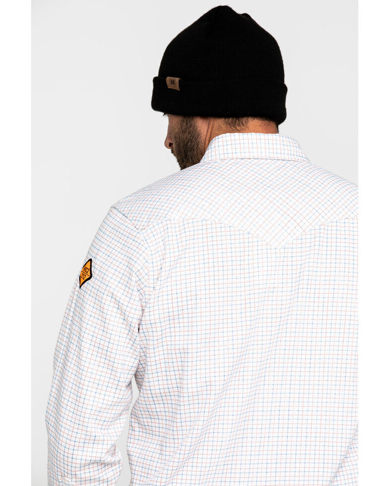 Wrangler Men's Western FR Long Sleeve Plaid Snap Shirt, White, hi-res