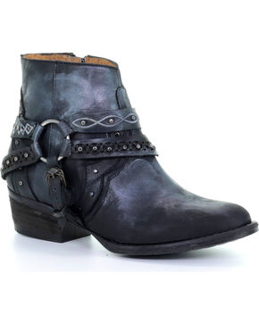Circle G Women's Black Studded Harness Ankle Boots - Round Toe , Black, hi-res