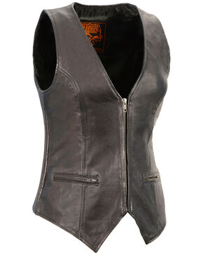 Milwaukee Leather Women's Black Lightweight Front Zipper Conceal Carry Vest - 4X , Black, hi-res