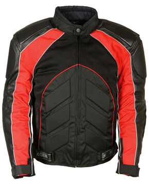 Milwaukee Leather Men's Combo Leather Textile Mesh Racer Jacket - 5X, Black/red, hi-res