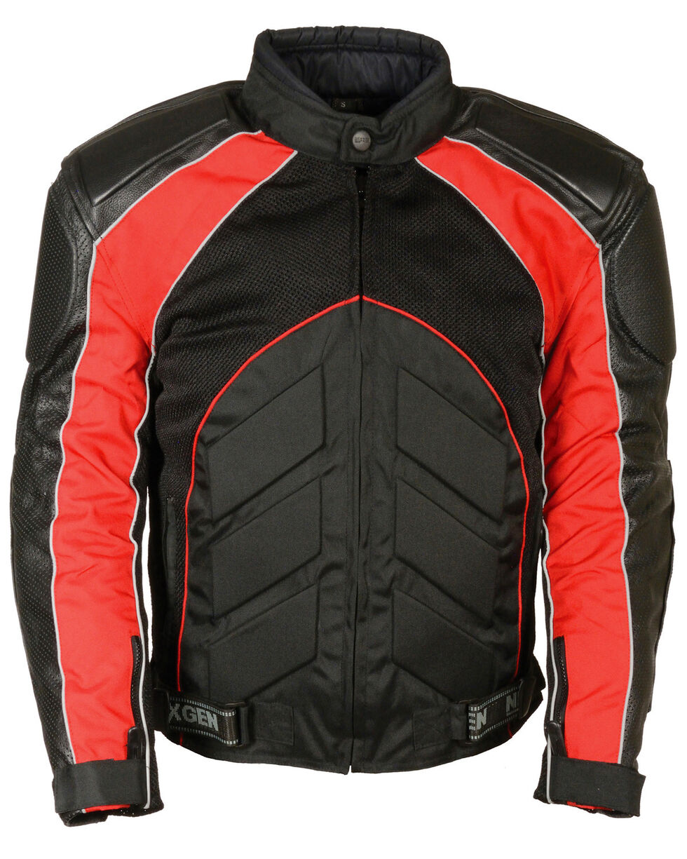 Milwaukee Leather Men's Combo Leather Textile Mesh Racer Jacket - 5X, , hi-res
