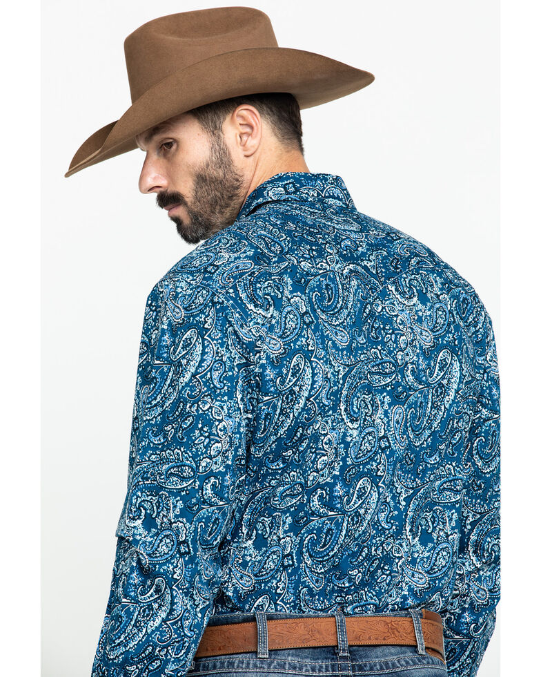 Cinch Men's Blue Paisley Print Long Sleeve Western Shirt , Multi, hi-res
