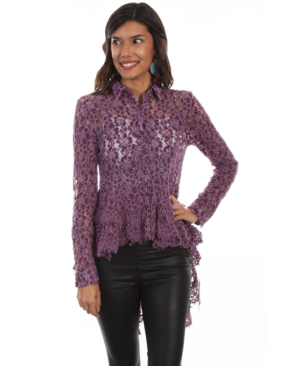 Honey Creek by Scully Women's Hi/Lo Lace Button Front Blouse , , hi-res