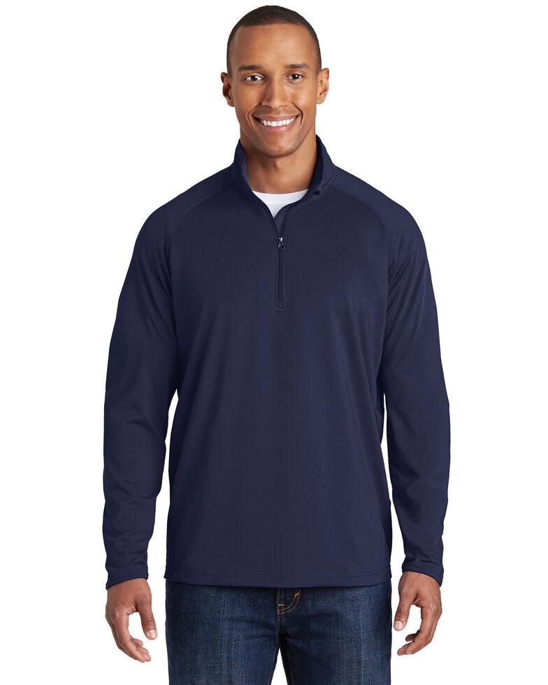 Sport-Tek Men's Navy Sport-Wick Stretch Pullover - Tall, Navy, hi-res