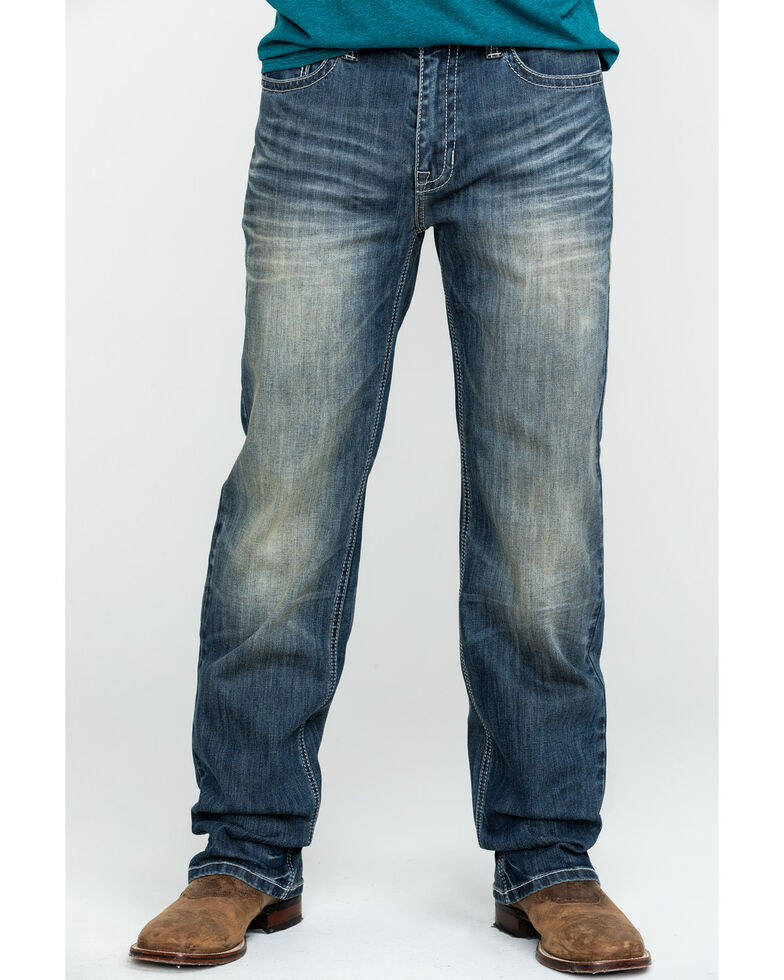 Rock & Roll Cowboy Men's Reflex Double Barrel Vintage Stretch Relaxed Straight Jeans , Blue, hi-res
