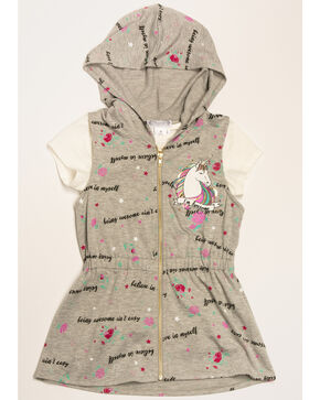 Shyanne Girls' Believe Unicorn 2fer Vest, Grey, hi-res