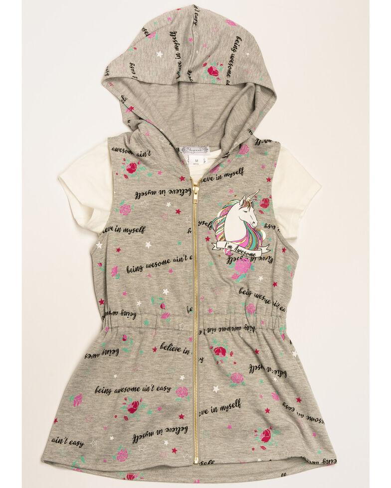 Shyanne Girls' Believe Unicorn 2fer Vest, Grey, hi-res
